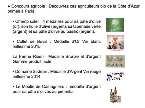 Médaillés Concours  agricole